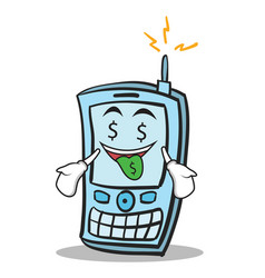 Money mouth phone character cartoon style vector