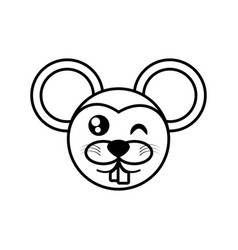mouse face animal outline vector image vector image