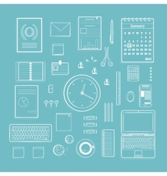 Office supplies collection flat clean lines vector