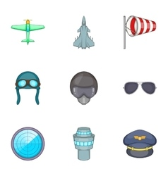 Pilot icons set cartoon style vector