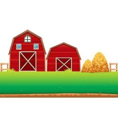 Red barns on the farm vector