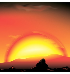 red sunset with silhouette of mountains vector image