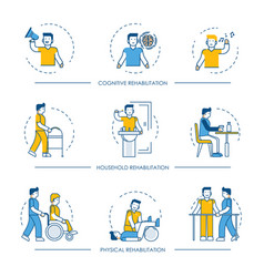 Rehabilitation human man icons for vector