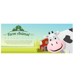 Rural landscape background with cow vector