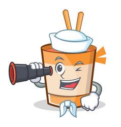 Sailor cup noodles character cartoon vector