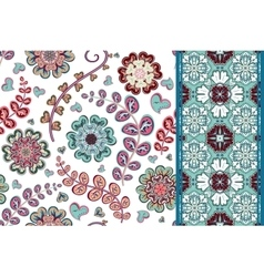 Set of flowers seamless pattern and border vector image vector image