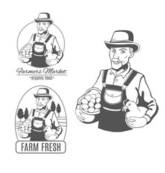 Set of logo with farmer vector