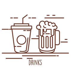 soda cup with beer vector image