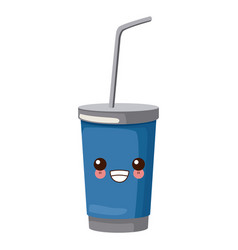 soda cup with straw cute kawaii cartoon vector image vector image
