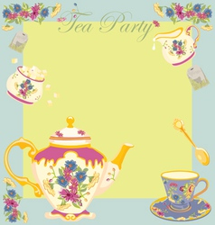 Tea party invitation vector