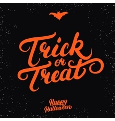 Trick or treat hand written lettering vector image vector image