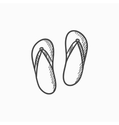 Beach slipper sketch icon vector