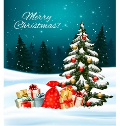 Holiday Christmas background with a sack full of vector image