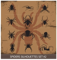 Halloween spiders silhouettes symbols set vector