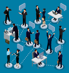 Set of isometric people in business suits in the vector