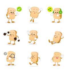 Collection of bread cartoon eps 10 vector