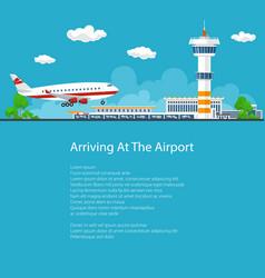 Passenger plane comes in to land flyer design vector