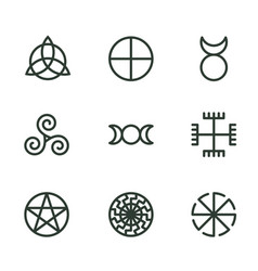 Pagan ancient symbols mystery sacred icons vector