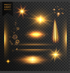 Set of transparent lights sparkles and lens flare vector