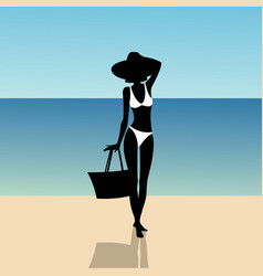 Silhouette of a girl on the beach vector