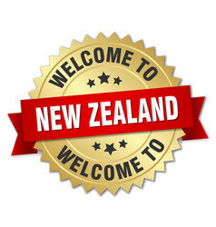 New zealand 3d gold badge with red ribbon vector