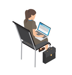 Businesswoman with laptop on chair vector