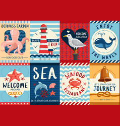 Nautical banners and posters set vector
