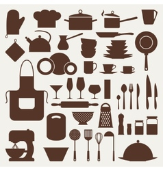 Kitchen and restaurant icon set of utensils vector image
