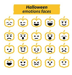 Set of halloween pumpkins icon emotions face vector