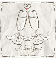 Romantic card with two glass of champagne and wish vector