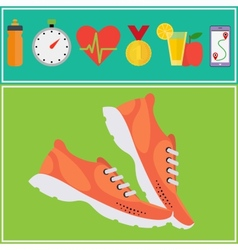 Jogging and running concept flat icons vector