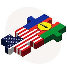 Usa and new caledonia flags in puzzle vector