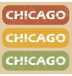 Vintage chicago stamp set vector