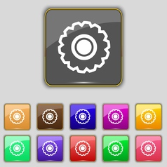 Cogwheel icon sign set with eleven colored buttons vector