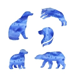 Polar bear watercolor silhouettes vector