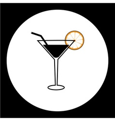 Cocktail alcohol drink with lemon and straw simple vector