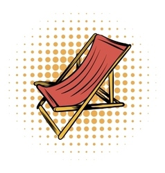 Wooden beach chaise comics icon vector