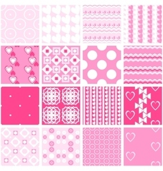 Cute pink seamless patterns endless vector