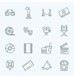 outline movie icons set vector image