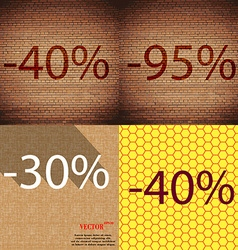 95 30 40 icon set of percent discount on abstract vector