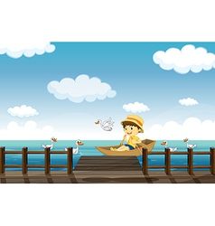 A boy boating vector image vector image