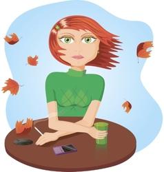 A sad girl smoking vector