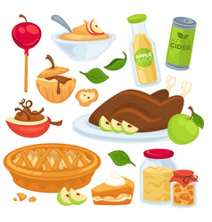 Apple food and drinks or desserts vector