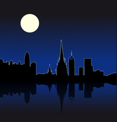 Barcelona spain night skyline vector