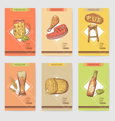 beer pub brochure template hand drawn restaurant vector image vector image