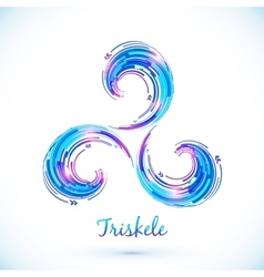 Blue abstract triskele symbol vector
