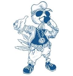 Brutal cock rapper blue rooster symbol 2017 vector