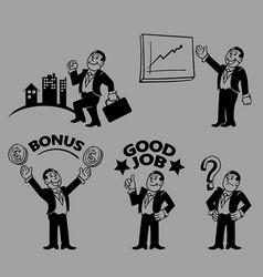 Businessman line art character vector