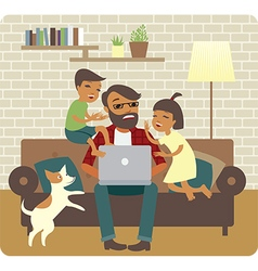 Busy father freelancer vector
