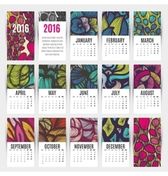 Calendar 2016 hand drawn decorative elements vector